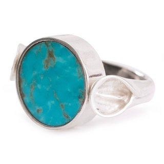 Handcrafted Sterling Silver 'Duality' Turquoise Obsidian Ring (Mexico)