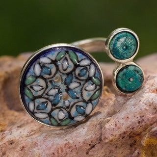 Handcrafted Sterling Silver 'Serenity' Turquoise Ceramic Ring (Mexico)