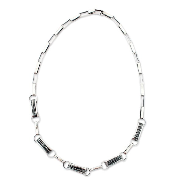 2556c6a899777 Handmade Sterling Silver 'Urban Taxco' Necklace (Mexico) - 7'6
