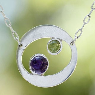 Handmade Sterling Silver 'Drifters' Amethyst Peridot Necklace (Mexico)