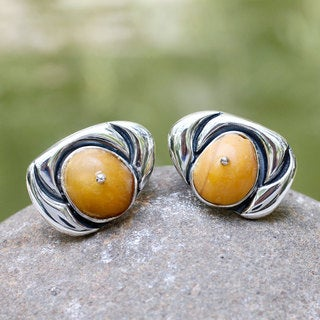 Handmade Sterling Silver 'Royal Honey' Amber Earrings (Mexico)