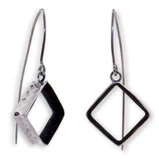 Handcrafted Silver 'Urban Quadrant' Earrings (Mexico)