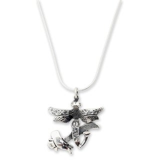 Handmade Sterling Silver 'Hammer and Dragonfly' Necklace (Mexico)