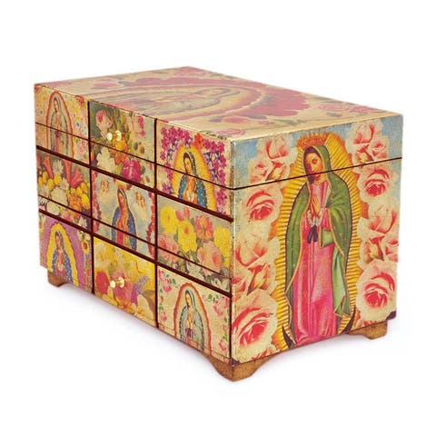 """Handmade Pinewood 'A Bouquet for My Guadalupe' Decoupage Box (Mexico) - 9.75""""x6.5"""""""