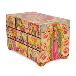 Handmade Pinewood 'A Bouquet for My Guadalupe' Decoupage Box (Mexico)
