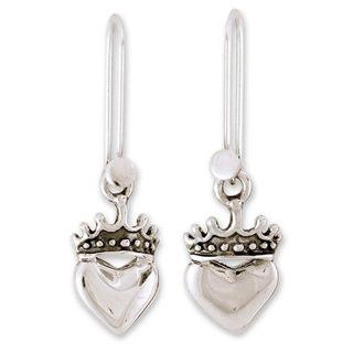 Handmade Sterling Silver 'Love Coronation' Earrings (Mexico)