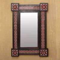 Tin Ceramic 'Colonial Crimson' Wall Mirror (Large) (Mexico) - Antique Brown - N/A