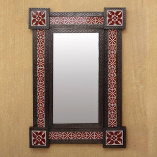 Tin Ceramic 'Colonial Crimson' Wall Mirror (Large) (Mexico) - Antique Brown - N/A