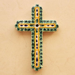 Handcrafted Majolica Ceramic 'Hope' Cross (Mexico)