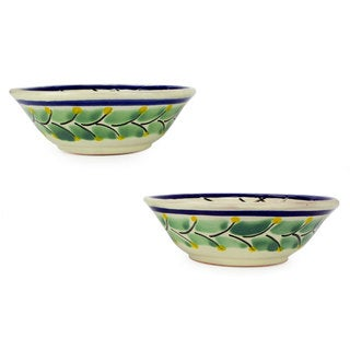 Handmade Set of 2 Majolica Ceramic 'Pi atas' Bowls (Mexico)