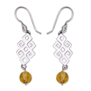 Handcrafted Sterling Silver 'Chiapas Maya' Copal Earrings (Mexico)