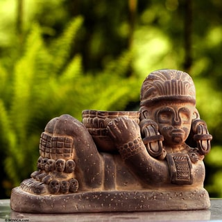 Handcrafted Ceramic 'Aztec Chac Mool' Sculpture (Mexico)