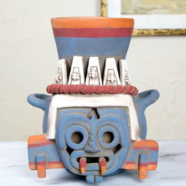 Handmade Ceramic 'God of Rain and Lightning' Vessel (Mexico)