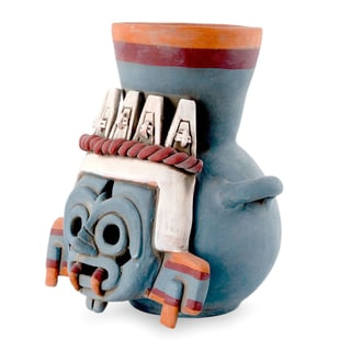 Handcrafted Ceramic 'God of Rain and Lightning' Vessel (Mexico)