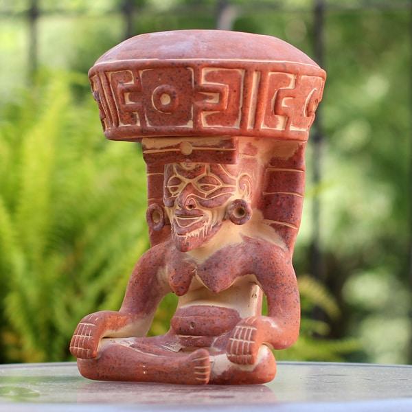 Handmade Ceramic 'Totonaca God of Fire' Sculpture (Mexico)