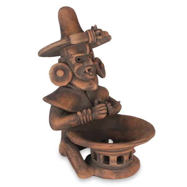 Handmade Ceramic 'Olmec Fire God' Sculpture (Mexico)
