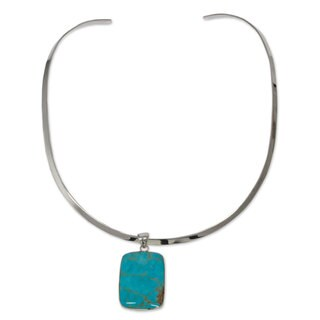 Handmade Sterling Silver 'Caribbean Mosaic' Turquoise Choker (Mexico)