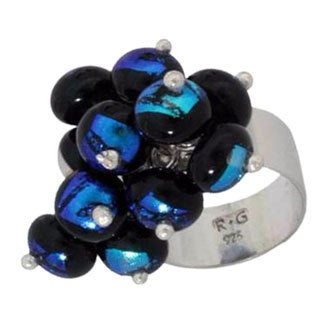 Handmade Sterling Silver 'Acapulco' Dichroic Art Glass Ring (Mexico)