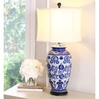 Abbyson Hand Painted Asian Blue 28 Inch Table Lamp