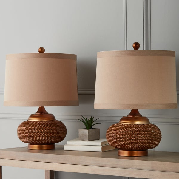 Abbyson Monaco Gold Beaded 20-inch Table Lamp (Set of 2)