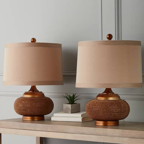 Monaco Gold Beaded 20-inch Table Lamp (Set of 2) By Abbyson