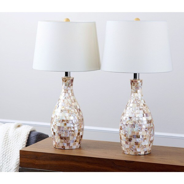 abbyson mother of pearl table lamp set of 2 free. Black Bedroom Furniture Sets. Home Design Ideas