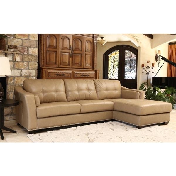 Abbyson ariella top grain leather sectional free for Abbyson living soho cream fabric chaise