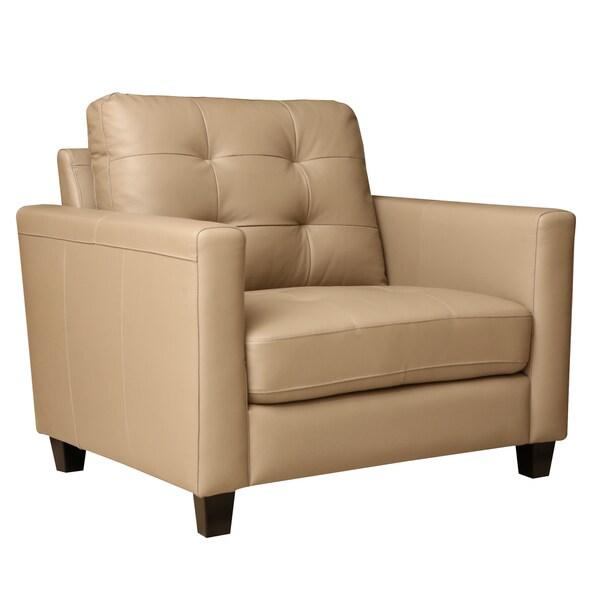 Abbyson Leona Top Grain Leather Armchair