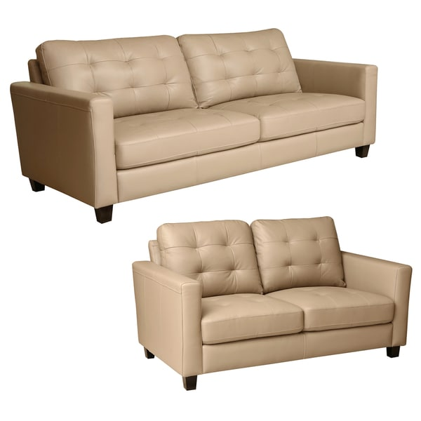 Abbyson Leona Stone Beige Top Grain Leather Sofa and Loveseat