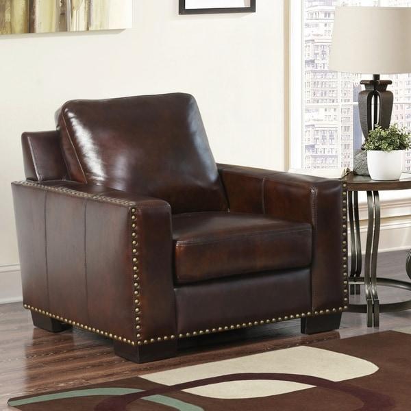 Shop Abbyson Barrington Top Grain Leather Armchair On Sale Free