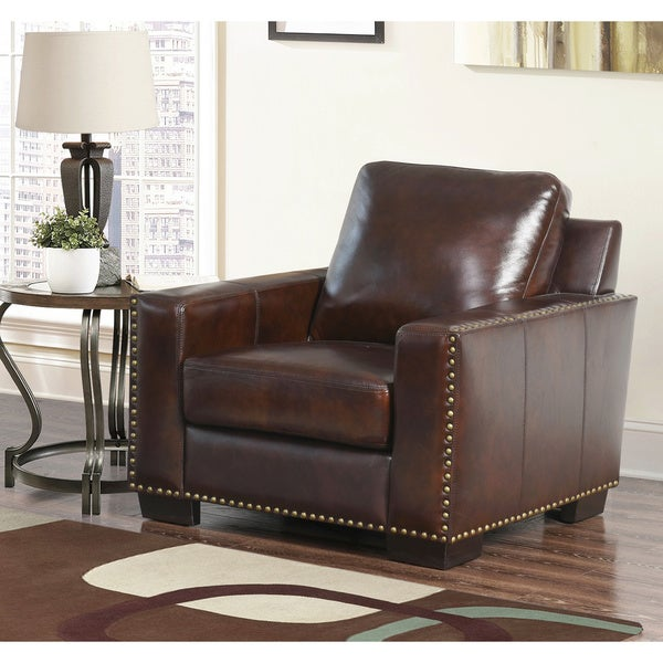 abbyson barrington handrubbed top grain leather armchair