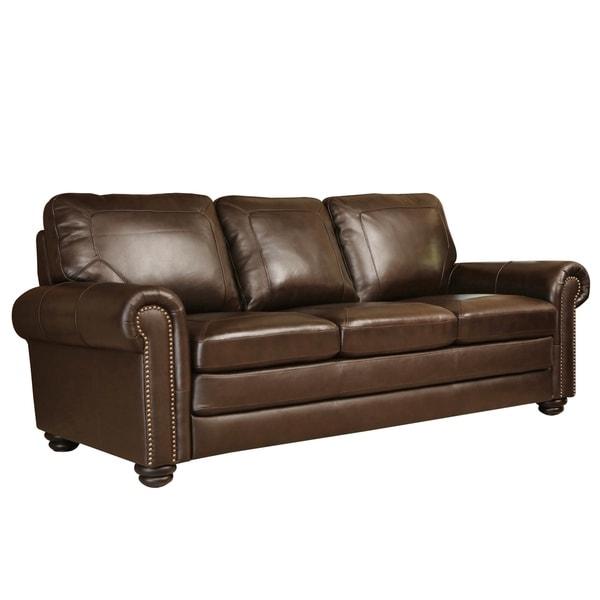 Shop Abbyson Bradford Top Grain Leather Sofa Overstock 9745780