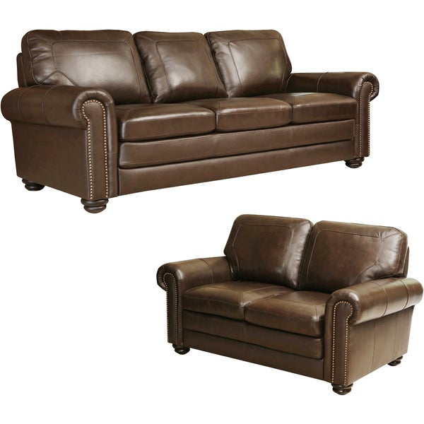 Abbyson Bradford Top Grain Leather Sofa And Loveseat