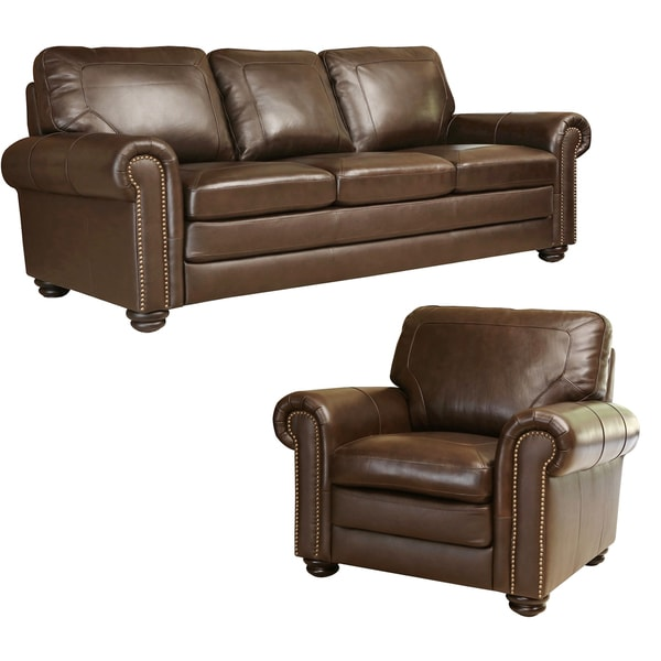 Abbyson Bradford Top Grain Leather Sofa And Armchair