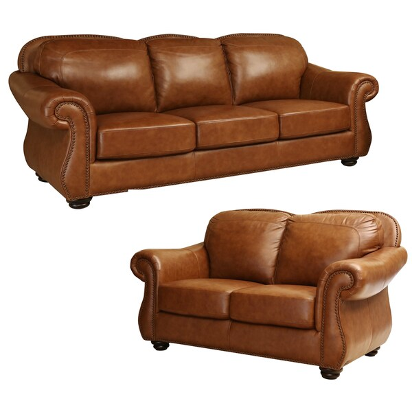 Abbyson Arizona Top Grain Leather Sofa And Loveseat Set