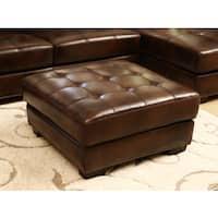 Abbyson Larena Top Grain Leather Ottoman