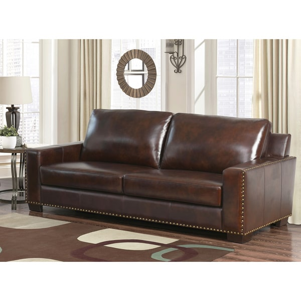Abbyson Barrington Hand Rubbed Top Grain Leather Sofa Free Shipping Today