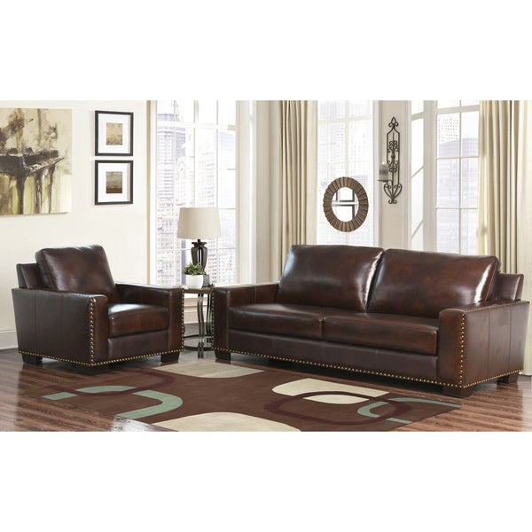 abbyson barrington hand rubbed top grain leather sofa and armchair. Interior Design Ideas. Home Design Ideas