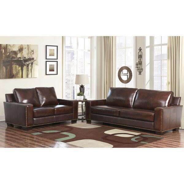 Abbyson Barrington Hand Rubbed Top Grain Leather Sofa And