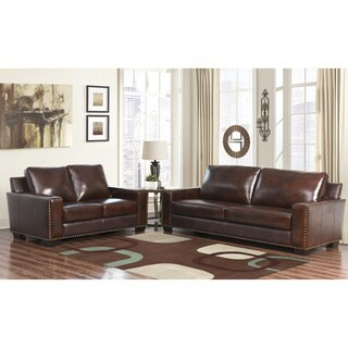 ABBYSON LIVING Barrington Hand-rubbed Top-grain Leather Sofa and Loveseat