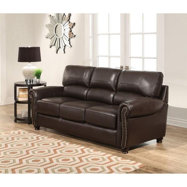 Shop Abbyson Monaco Brown Top Grain Leather Sofa
