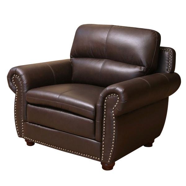 Abbyson Laguna Top-grain Dark Brown Leather Armchair
