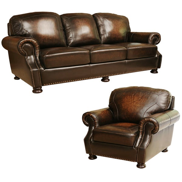 Abbyson Sienna Hand Rubbed Top Grain Leather Sofa And