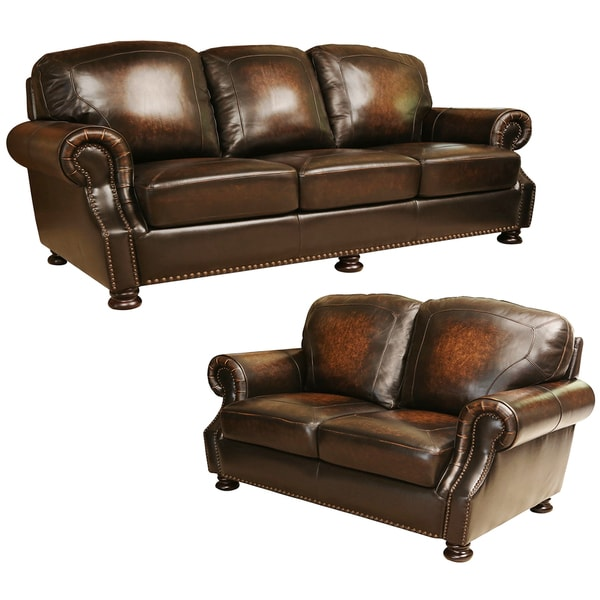 Sofa Leather Workshop: Shop Abbyson Sienna Hand Rubbed Top Grain Leather Sofa And