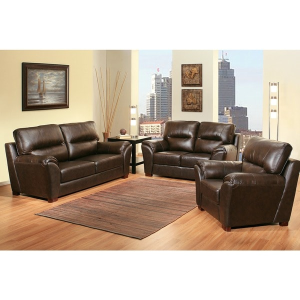 Abbyson Caprice 3 Piece Top Grain Leather Sofa Set Free Shipping Today 16919508