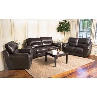 Abbyson Caprice 3 Piece Top Grain Leather Sofa Set