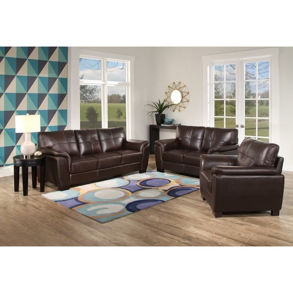 Abbyson \'Belize\' Brown Leather 3 Piece Living Room Set - Free ...