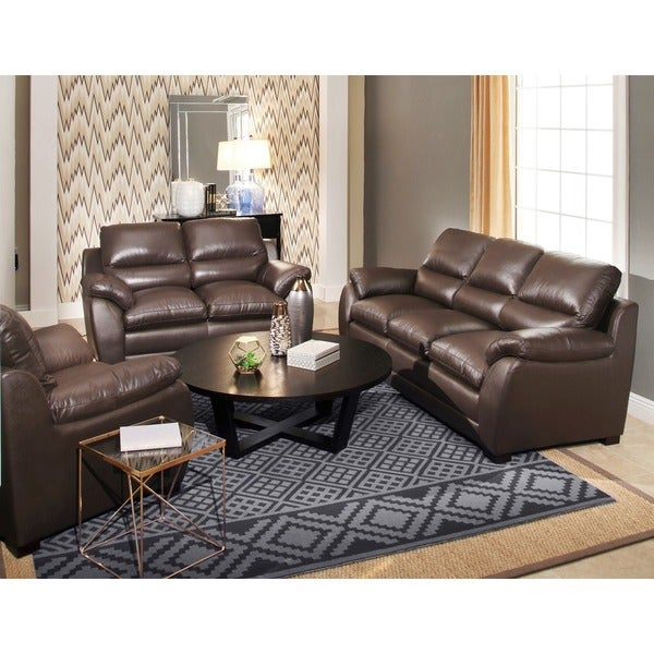 Abbyson Monarch 3 Piece Top Grain Leather Sofa Set