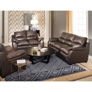 abbyson monarch 3piece top grain leather sofa set