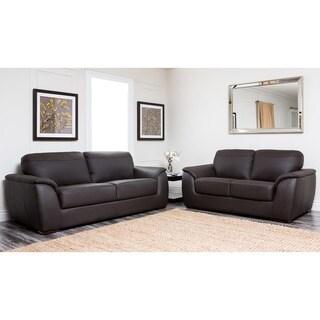 Abbyson Ashton Brown Top Grain Leather 2 Piece Living Room Set